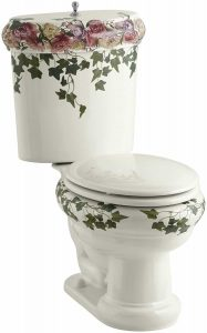 Kohler K-14239-PS-96 Peonies and Ivy design on revival toilet